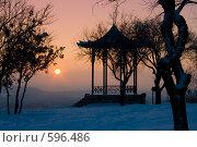 Китайская беседка на закате. Стоковое фото, фотограф Михаил Лазаренко / Фотобанк Лори