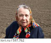 Купить «Пенсионерка на огороде», фото № 597762, снято 20 ноября 2018 г. (c) Сергей Зубов / Фотобанк Лори