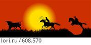 Бег быка и ковбоев. Стоковая иллюстрация, иллюстратор Александр Асланов / Фотобанк Лори