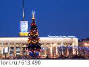 Купить «Предновогодний Санкт-Петербург. Елка возле Финляндского вокзала», эксклюзивное фото № 613490, снято 8 декабря 2008 г. (c) Румянцева Наталия / Фотобанк Лори