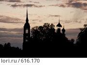 Купить «Силуэт заброшенной церкви на берегу Волги», фото № 616170, снято 19 июля 2006 г. (c) Павел Гаврилов / Фотобанк Лори