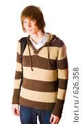 Купить «Молодой человек в полосатом джемпере», фото № 626358, снято 4 декабря 2008 г. (c) Ольга Сапегина / Фотобанк Лори