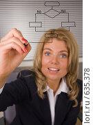 Бизнес-леди рисует на планшете. Стоковое фото, фотограф Вячеслав Дусалеев / Фотобанк Лори