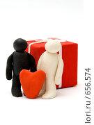 Купить «Пластилиновые человечки влюбленные», фото № 656574, снято 6 января 2009 г. (c) Ирина Доронина / Фотобанк Лори
