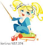 Купить «Блондинка с указкой», иллюстрация № 657374 (c) Елисеева Екатерина / Фотобанк Лори