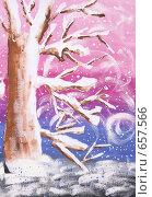 """Детский рисунок-аппликация """"Зимнее дерево"""" Стоковая иллюстрация, иллюстратор Титова Елена / Фотобанк Лори"""