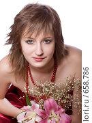 Купить «Девушка с лилиями», фото № 658786, снято 3 января 2009 г. (c) Ольга Кедрова / Фотобанк Лори