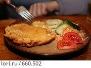 Купить «Картофельная лепешка с начинкой и овощами», фото № 660502, снято 4 января 2009 г. (c) Gagara / Фотобанк Лори