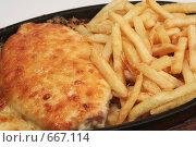 Купить «Куриный рулет и картофель фри», фото № 667114, снято 20 апреля 2008 г. (c) Дмитрий Натарин / Фотобанк Лори