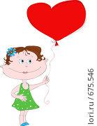 Купить «Нарисованная девочка с сердечком», иллюстрация № 675546 (c) Даша Богословская / Фотобанк Лори