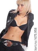 Купить «Блондинка в кожаном пиджаке», фото № 675958, снято 16 сентября 2008 г. (c) hunta / Фотобанк Лори