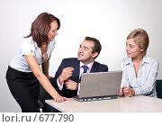 Купить «Коллеги: молодые бизнесмены в офисе», фото № 677790, снято 21 июля 2007 г. (c) Владимир Мельник / Фотобанк Лори