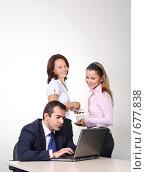 Купить «Коллеги: молодые бизнесмены в офисе», фото № 677838, снято 21 июля 2007 г. (c) Владимир Мельник / Фотобанк Лори