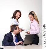Купить «Коллеги: молодые бизнесмены в офисе», фото № 677846, снято 21 июля 2007 г. (c) Владимир Мельник / Фотобанк Лори