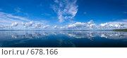 Купить «Облака на голубом небе и их отражение в озере», фото № 678166, снято 12 июля 2007 г. (c) Артём Сапегин / Фотобанк Лори