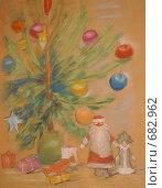 """Детский рисунок """"Новый год"""" (пастель) (2009 год). Редакционное фото, фотограф Титова Елена / Фотобанк Лори"""