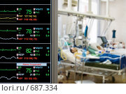 Купить «Мониторинг в палате интенсивной терапии», фото № 687334, снято 25 мая 2007 г. (c) Beerkoff / Фотобанк Лори