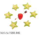 Купить «Сердце пронзенное стрелой в окружении тропических звезд. Изолировано от фона.», фото № 688446, снято 3 февраля 2009 г. (c) Андрей Липко / Фотобанк Лори