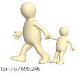 Взрослый, тянущий ребенка за руку. Стоковая иллюстрация, иллюстратор Лукиянова Наталья / Фотобанк Лори