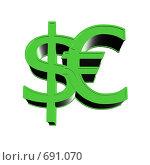 Доллар и евро. Стоковая иллюстрация, иллюстратор Олег Колташев / Фотобанк Лори