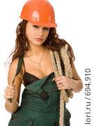 Купить «Сексуальная девушка в оранжевой каске», фото № 694910, снято 17 февраля 2008 г. (c) Валентин Мосичев / Фотобанк Лори
