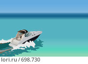 Купить «Быстроходная лодка на море», иллюстрация № 698730 (c) Татьяна Медведева / Фотобанк Лори