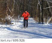 Купить «Зимний пейзаж. Лыжник», эксклюзивное фото № 699926, снято 3 февраля 2009 г. (c) lana1501 / Фотобанк Лори