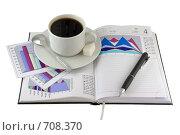 Купить «Открытый ежедневник,чашка кофе и экономические  цветные графики», фото № 708370, снято 11 января 2009 г. (c) Vitas / Фотобанк Лори