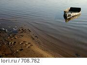 Купить «Старая затонувшая лодка на берегу Волги», фото № 708782, снято 24 августа 2019 г. (c) Gagara / Фотобанк Лори
