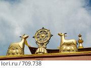 Купить «Украшение над входом в буддистский храм (дацан)», фото № 709738, снято 25 июня 2006 г. (c) Александр Подшивалов / Фотобанк Лори