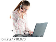 Купить «Девушка за работой», фото № 710070, снято 24 января 2009 г. (c) Наталья Белотелова / Фотобанк Лори