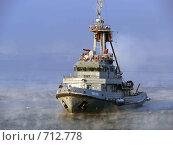 Купить «Пожарный катер на Кольском заливе», фото № 712778, снято 18 февраля 2009 г. (c) Андрей Субач / Фотобанк Лори