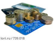 Купить «Монеты и банковская карта на белом фоне», фото № 739018, снято 8 марта 2009 г. (c) Кирпинев Валерий / Фотобанк Лори