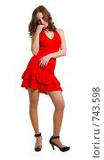 Купить «Девушка в красном платье», фото № 743598, снято 21 февраля 2009 г. (c) Виктория Кириллова / Фотобанк Лори