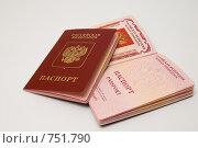 Купить «Два загранпаспорта», фото № 751790, снято 15 марта 2009 г. (c) Тимур Ахмадулин / Фотобанк Лори