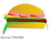 Купить «Гамбургер», иллюстрация № 754850 (c) Алексей Лебедев-Реллер / Фотобанк Лори