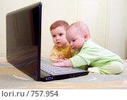 Купить «Брат и сестра играют за ноутбуком», фото № 757954, снято 16 июня 2019 г. (c) Александр Fanfo / Фотобанк Лори