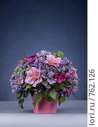 Купить «Флористическая композиция на синем фоне», фото № 762126, снято 18 февраля 2009 г. (c) Ольга Харламова / Фотобанк Лори