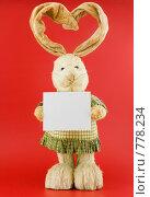 Купить «Заяц  с ушами в виде сердца, на красном фоне», фото № 778234, снято 23 января 2009 г. (c) Vitas / Фотобанк Лори