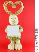 Купить «Заяц  с ушами в виде сердца, на красном фоне», фото № 778238, снято 23 января 2009 г. (c) Vitas / Фотобанк Лори