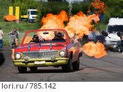Купить «Каскадеры на старом автомобиле с огнем», фото № 785142, снято 8 июня 2008 г. (c) Александр Косарев / Фотобанк Лори