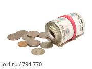 Купить «Пачка российских десятирублевых банкнот и монеты», фото № 794770, снято 31 января 2008 г. (c) Петухов Геннадий / Фотобанк Лори