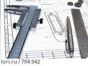 Купить «Мелкие детали на чертеже», фото № 794942, снято 7 апреля 2009 г. (c) Вячеслав Торопов / Фотобанк Лори