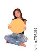 Купить «Счастливая девушка держит баннер для сообщение», фото № 797386, снято 29 августа 2007 г. (c) Vdovina Elena / Фотобанк Лори