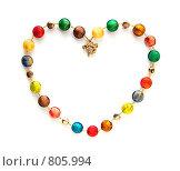 Бусы из цветного муранского стекла в форме сердца. Стоковое фото, фотограф Ирина Рубанова / Фотобанк Лори