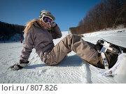 Купить «Отдых на склоне. Сноубордистка.», фото № 807826, снято 28 февраля 2009 г. (c) Игорь Жоров / Фотобанк Лори