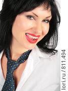 Купить «Портрет улыбающейся брюнетки», фото № 811494, снято 23 мая 2019 г. (c) Losevsky Pavel / Фотобанк Лори
