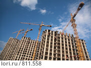 Купить «Строительство дома», фото № 811558, снято 18 июля 2018 г. (c) Losevsky Pavel / Фотобанк Лори