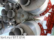 """Ракета """"Восток"""" у музея истории космонавтики в Калуге. Маршевый двигатель разгонного блока (2009 год). Редакционное фото, фотограф Владимир / Фотобанк Лори"""