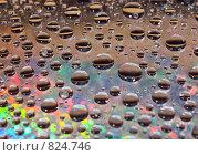 Купить «Капли воды на блестящем фоне», фото № 824746, снято 20 августа 2018 г. (c) Александр Fanfo / Фотобанк Лори